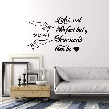 Nails Art Vinyl Wall Decal Nail Salon Quote Polish Manicure Hands Stickers Mural (ig5292)