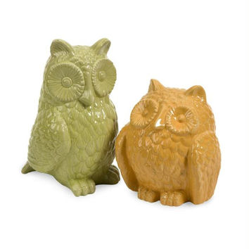 2 Ceramic Owls - Green And Yellow