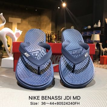 Nike BENASSI JDI MD Blue Fashion Sandals Flip Flops Shoes Sneaker