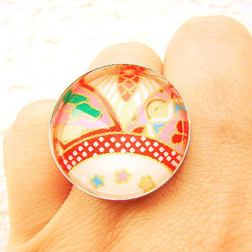 Chiyogami  Ring Yuzen Washi Paper Japanese Ring Domed Glass
