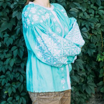 "Embroidered designer's blouse ""Tender turquoise"""