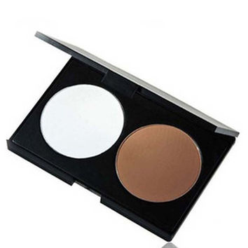 Two Color Thin face nose shadow  Pressed Powder in Warm Natural