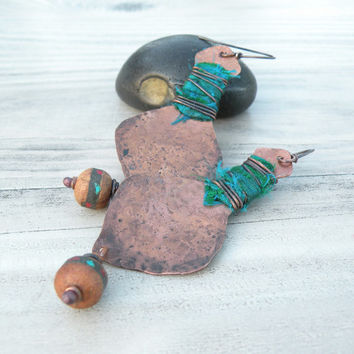 Silk and Copper Earrings, Rustic Bohemian Dangle Earrings, Emerald and Gold