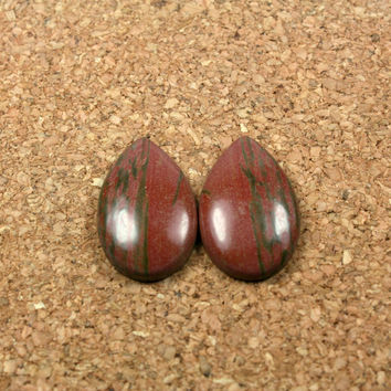 Red Creek Jasper Teardrop Cabochon Earring Pair - Red and Green Smooth Undrilled Teardrop Beads, 1 pair