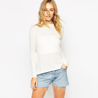 Long Sleeves Halter Cutout Wrapped Folded Back Kitted Sweater