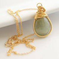 Aquamarine Necklace Wire Wrapped Necklace Bezel by Jewels2Luv