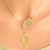 Gold Leaf Lariat - double leaf lariat, double leaf pendant, mini leaf lariat