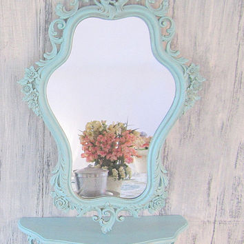 Shabby Chic Mirror For Sale FRENCH COUNTRY Home MIRROR For Sale Vintage Framed Teal Blue Ornate Baroque Mirror Decorative