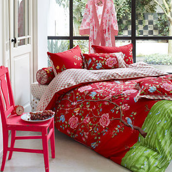 Red Morning Glory Single Duvet Set