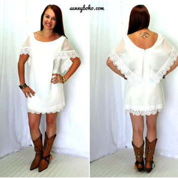 Vintage 70s white mini dress S / M silk lace white formal dress boho sheer white lace dress 1970s romantic white dress SunnyBohoVintage