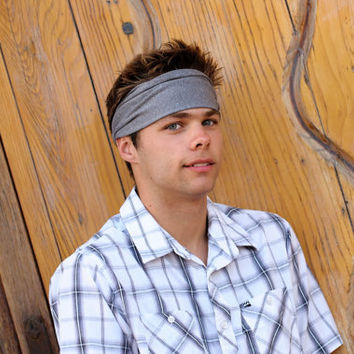 Mens Headband, Gray Headband, Men's Headbands, Running Headband, Yoga Headwrap (Item 1202) Large