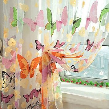 1 Piece Butterfly Sheer Curtain Panel Window Room Divider