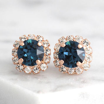 Blue Navy  Earrings, Dark Blue Studs, Swarovski Blue Earrings, Bridesmaids Earrings, Rose Gold Earrings ,Bridal Stud Earrings, Gift For Her
