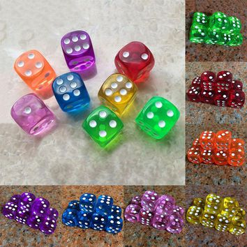 10Pcs 16mm Acrylic Transparent Round Corner Dice Clear Drinking Dice Portable Table Playing Game 7 Colors