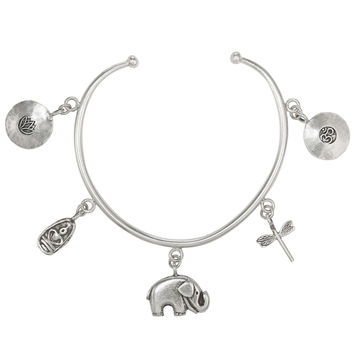 5 Charm, Om, Dragonfly, Elephant, Buddha and Lotus Flower Sterling Silver Bracelet