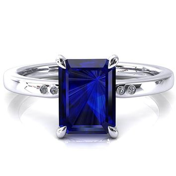 Maise Emerald Blue Sapphire 4 Prong Diamond Accent Engagement Ring