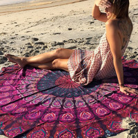 Fashion Retro Peacock Pattern Print Beach Towel Sunscreen Shawl Round Yoga Cushion