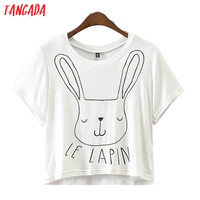 Tangada Fashion Women Summer Rabbit Letter Printed White T shirt Short Sleeve Cozy T-Shirts Top Tees Girl T shirt Brand XD13