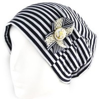 Women's Beanie Hat - Anchor Button Pin w/ Ribbon - Color Options