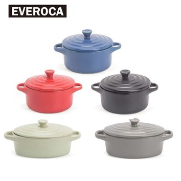 Everoca Ceramic Oven Bowl Double Hadnle Microwave Oven Oval Round Soup Bowl Lid Red Black Green Grey Blue