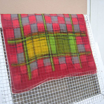 Midcentury Chic Chiffon Windowpane Check Scarf - Printed Sheer Chiffon Vintage Scarf in Red, Yellow & Green, with a Rolled White Hem