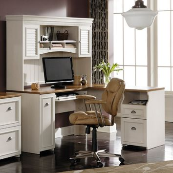 Bush Fairview L-Shaped Computer Desk with Optional Hutch - Antique White | www.hayneedle.com