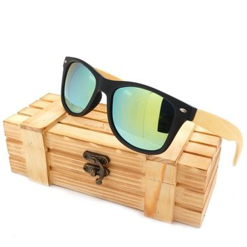 BOBO BIRD Handmade 100% Wooden Sun glasses Mirror Polarized Lens Bamboo Joint Sunglasses for Men and Women