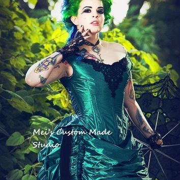 Green Black Gothic Steampunk Victorian Bustle Reproduction 3pce Set Period&Bridal Dress Lace-Up Stage Dress