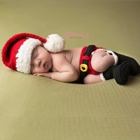 Melondipity Santa's Little Helper Christmas Baby Hat, Diaper Cover & Booties Set