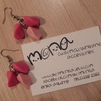Strawberry Bubblegum beaded earrings - great gift - ready to ship! ( One of a Kind )
