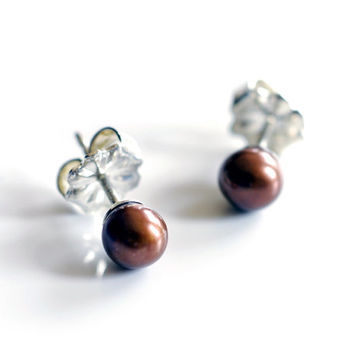 small chocolate pearl studs , mini brown pearl post earrings , minimalist brown studs , coffee colored freshwater pearl earring ball studs