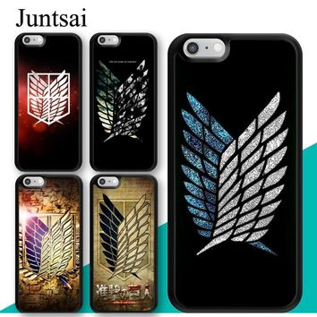 Cool Attack on Titan Juntsai  Wings Phone Case for iphone 5 5s SE 6 6s 7 8 Plus X TPU Plastic Back Cover Coque For iphone 7 Plus AT_90_11