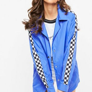 Missguided - Blue Checkerboard Jacket