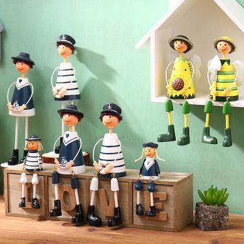 2017 Nautical Navy Family Creative Home Decor Hanging Navy Wooden Dolls for Home Decor Ornaments Office Fairy Garden Decoration
