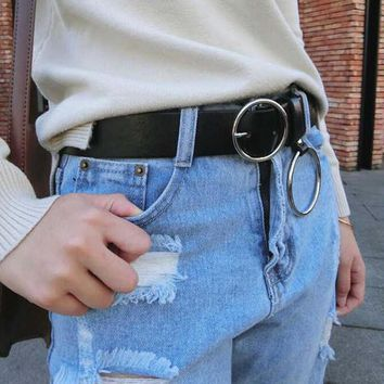 UYEE Hot Sell Designer Sexy Leather Punk Harajuku Big O Ring Belt Exaggerated Big Metal Ring Metal Hoop For Women LZ-007-O