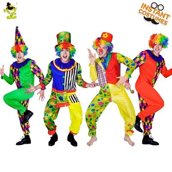 New Clown Funny Costumes Cosplay Party for Adult Men's Role Play Carnival &Christmas Party with Wig Clown Costumes