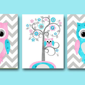 Pink Teal Grey Owl Nursery Canvas Art Giraffe Elephant Nursery Art Baby Girl Nursery Decor Children Art Print Baby Nursery Print set of 3