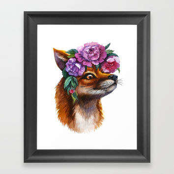 Red Fox and Peonies Framed Art Print by Tory Sevas