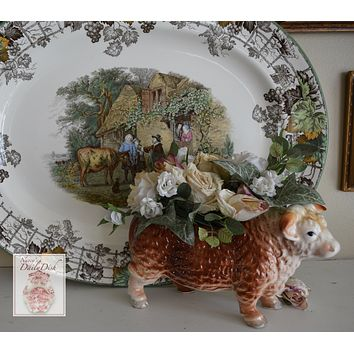 HUGE French - English Country Scene Platter Spode Copeland Byron Pastoral Brown Transferware Platter Child Dog The Cow Doctor