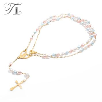 TL New Love Heart Virgin Mary Rosary Necklace Colorful Bead Chain Jesus Cross Pendant  for Women Stainless Steel Long Necklace