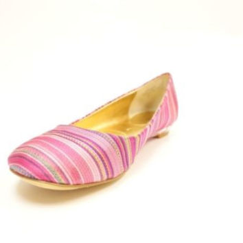 Nine West Guzzler Pink Stripes Canvas Ballet Flats Women's 8 M NIB