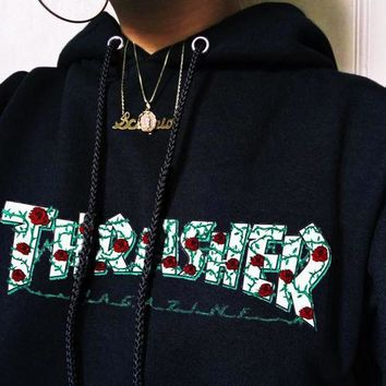 ''Thrasher '' Rose Embroidery Men Women  Hot Hoodie Sweater
