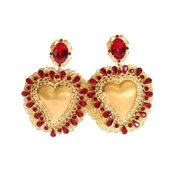 Dolce & Gabbana Gold Red Crystal Sacred Heart Clip On Earring