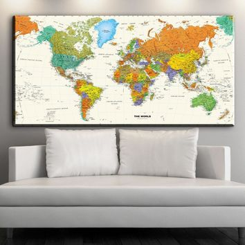 XX3365 World Map Wall Art Canvas Posters and Prints Modular Picture For Living Room decoration Drop-shipping unframed