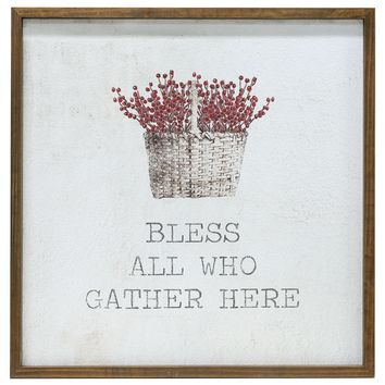 """Bless All Who Gather Here - Framed Watercolor Wall Art 20"""""""