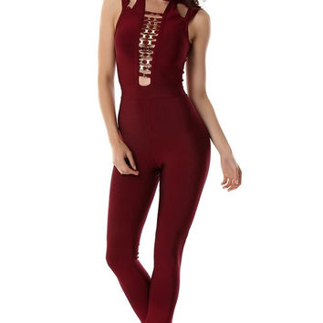 The Stunner Burgundy Bandage Jumpsuit