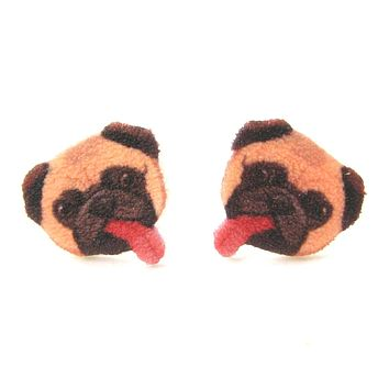 Pug Puppy Dog Animal Head Shaped Stud Earrings With Tongues Sticking Out | Handmade Shrink Plastic