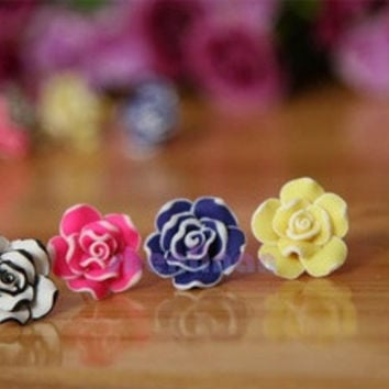 2016 new fashion hot sale  Arrival  Elegant  Cute Temperament Women Ladies Girls Rose Flower Stud Earrings Elegant Jewelry Blue/Fuchsia/White/Yellow 4 Colors EAR-0058 [7939676359]