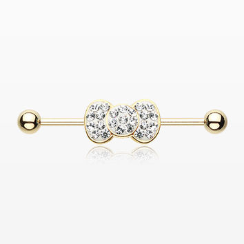Golden Adorable Bow-Tie Sparkle Industrial Barbell