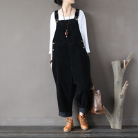 Women Autumn Winter Cotton Corduroy Vintage Rompers Jumpsuits Retro Solid Color Loose Overalls Ladies Washed Pants Trousers